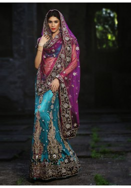 Turquoise Net Bridal Embroidered Lehenga Choli