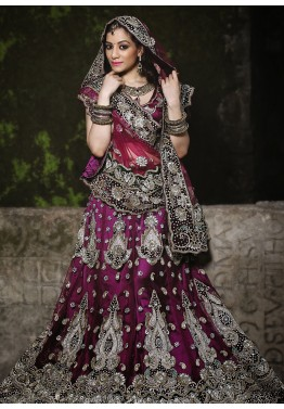 Purple Net Bridal Embroidered Lehenga Choli