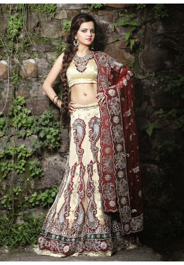 Cream Net Bridal Embroidered Lehenga Choli
