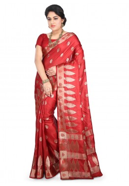 Red Saree in Pure Tussar Silk