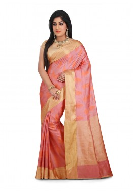 Pink Saree in Pure Tussar Silk