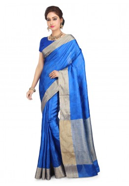Royal Blue Saree in Pure Tussar Silk