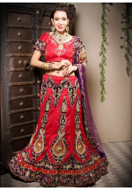 Buy Red Silk Bridal Embroidered Indian Lehenga Choli Online in USA