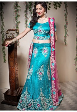 Turquoise Net Embroidered Lehenga Choli