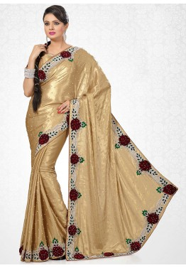Golden Shimmer Embroidered Saree With Blouse