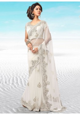 White Net Embroidered Saree With Blouse