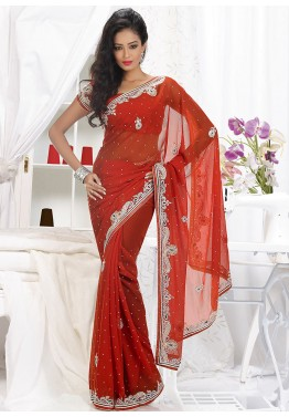 Red Georgette Embroidered Saree With Blouse