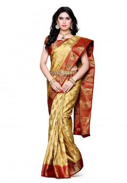 Golden & Red Kanchipuram Saree With Blouse