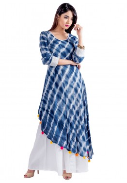 Readymade Blue Cotton Indo Western Dress