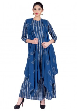 Readymade Blue & Red Cotton Indo Western Cape Dress