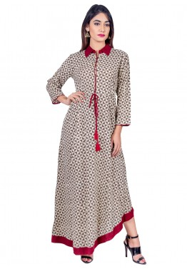 Readymade Brown Cotton Indo Western Dress