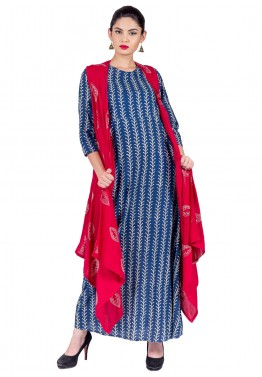Readymade Blue Cotton Indo Western Cape Dress
