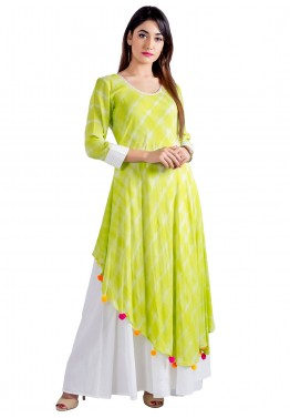 Readymade Lime Green Cotton Indo Western Dress