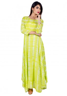 Indo Western Dress: Buy Readymade Lime Green Cotton Indian Kurtis Online in USA