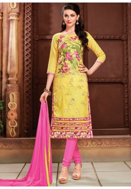 Yellow Cotton Churidaar Kameez