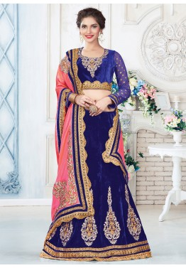 Royal Blue Velvet Lehenga Choli With Dupatta