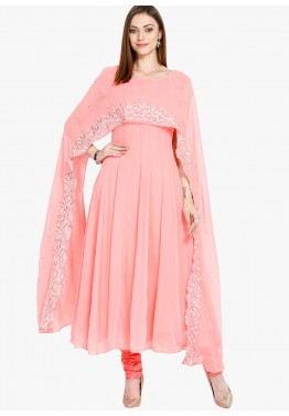 Readymade Peach Cape Style Georgette Salwar Suit