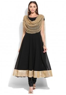 Black Readymade Georgette Frock Style Salwar Suit