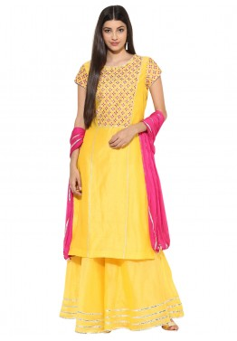 Readymade Yellow Chanderi Salwar Suit with Pink Dupatta
