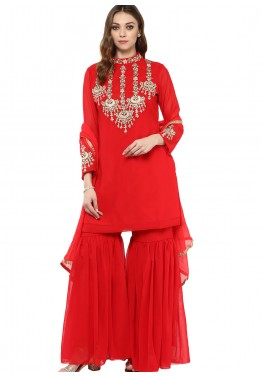 Readymade Red Georgette Kurti with Sharara