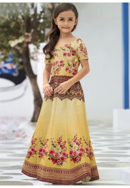 Readymade Yellow Shaded Kids Gown in Silk