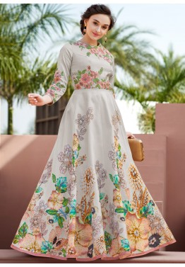 Grey Floral Printed Indian Gown With Embroidery