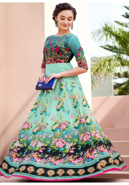 Sea Green Printed Indian Gown With Embroidery