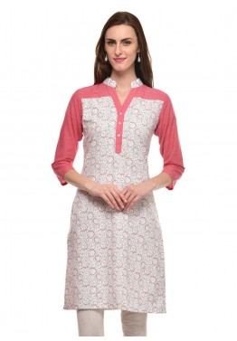 Readymade White & Peach Cotton Printed Kurti