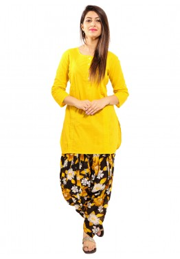 Yellow Readymade Cotton Kurti