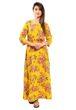 Yellow Printed Readymade Rayon Dress