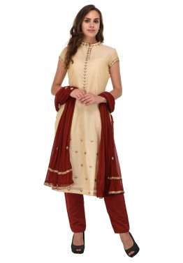 Readymade Cream Chanderi Straight Cut Pant Suit