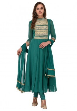 Readymade Green Chanderi Anarkali Suit With Dupatta
