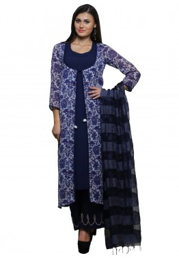 Readymade Blue Rayon Palazzo Salwar Suit with Dupatta