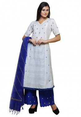 Readymade White Cotton Silk Palazzo Salwar Suit with Dupatta