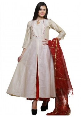 Readymade Off White Cotton Silk Palazzo Suit