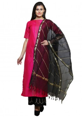 Readymade Pink Cotton Silk Palazzo Salwar Suit with Dupatta