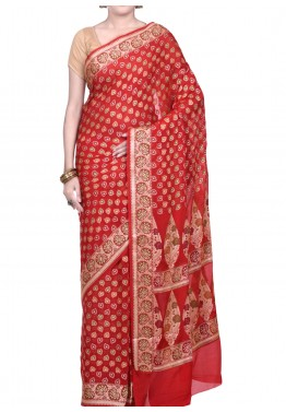 Red Saree in Pure Banarasi Silk