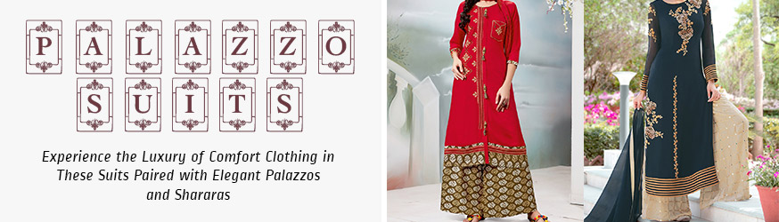 Designer Palazzo Suits Buy Trendy Palazzo Salwar Suits Online