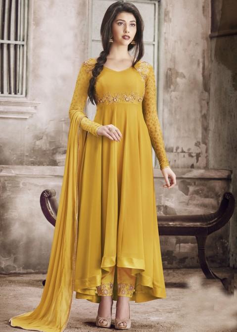 bf38673f9c Indian Salwar Kameez Online - Yellow Asymmetrical Abaya Salwar Suit in  Georgette