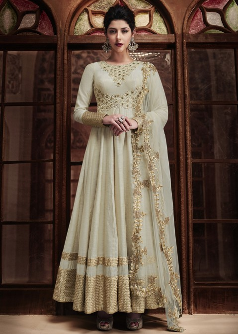 Offwhite Anarkali Silk Suit 1452sl05