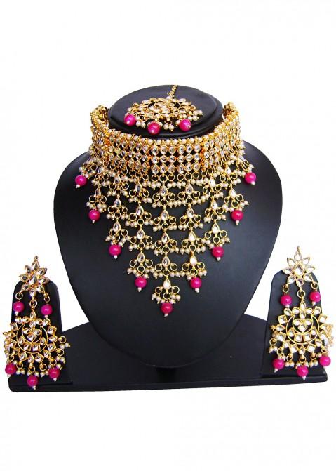 Golden Pink Bridal Choker Necklace Set Jewelry 111jw14