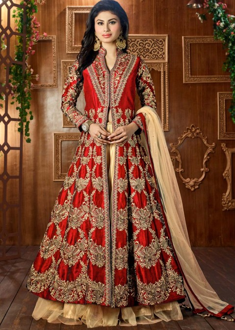 f69eccccf885 Buy Mouni Roy Embroidered Art Silk Jacket Style Party Wear Lehenga Choli  Online in Red