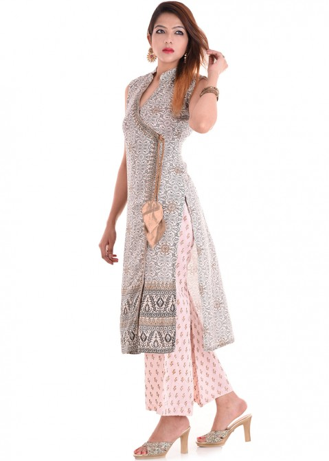 Buy Off White Angrakha Style Printed Long Indian Kurta for Women With Pant f987145ac