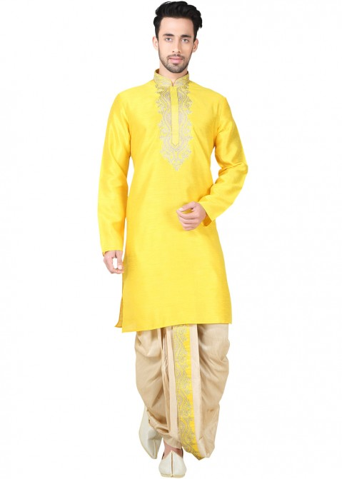 ebcd9e696 Readymade Yellow Art Silk Dhoti Kurta Set 139MW01