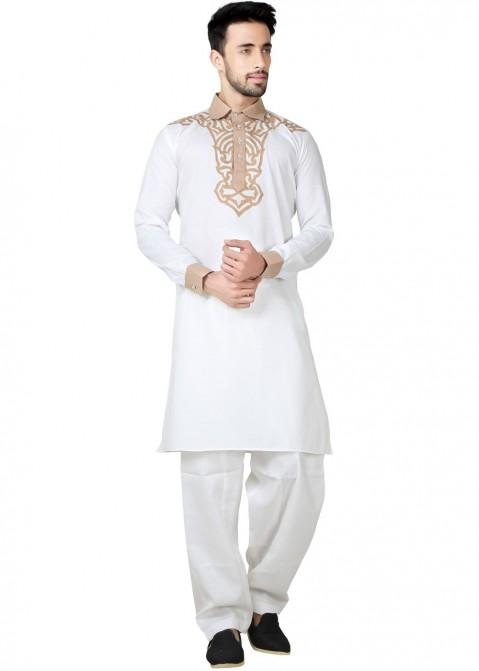 Mens Kurta Pajama Wedding Cotton Linen Off White India Partywear Pathani Set