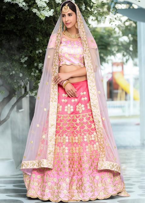 ff53702e3d Pink Shaded Silk Lehenga Choli with Gota Patti Work 1578LG01