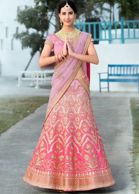 dd4adcf2eb Pink & Lavender Shaded Silk Lehenga Choli with Gota Patti Work 1578LG05
