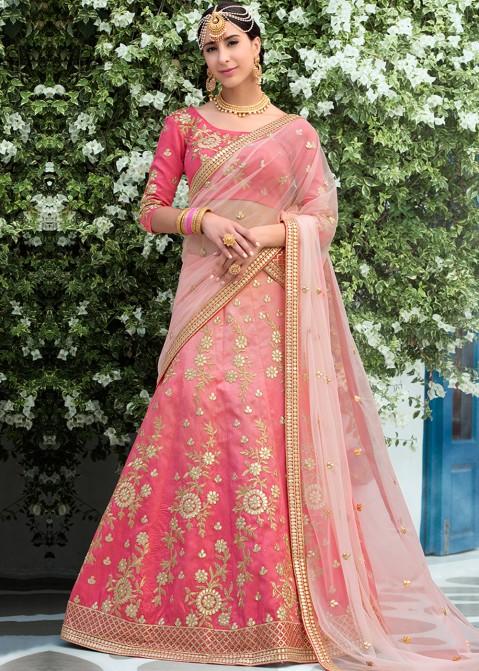 82c8f0489c Gota Patti Lehenga: Buy Pink Shaded Silk Lehenga Choli Online with Gota  Patti Work