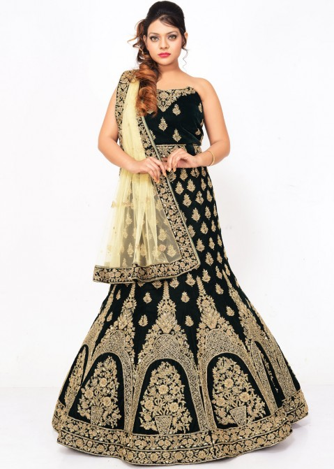 eda61ef9cfa8 Dark Green Velvet Indian Designer Bridal Lehenga Choli Online Shopping with  Dupatta