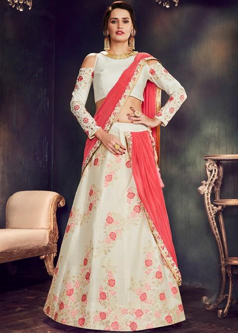 b17d1daf20b Party Wear Lehenga: Buy Off White Indian Lehenga Choli Online with Dupatta